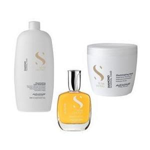 Csomag a normál haj ragyogásáért Alfaparf Semi di Lino Diamond Illuminating - Sampon 1000ml, Hajmaszk 500ml, Hajszérum 50ml kép