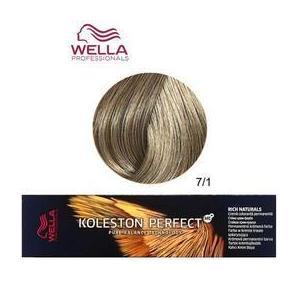Permanens krém-hajfesték - Wella Professionals Koleston Perfect ME+ Rich Naturals, árnyalat 7/1 Hamvas Középszőke kép