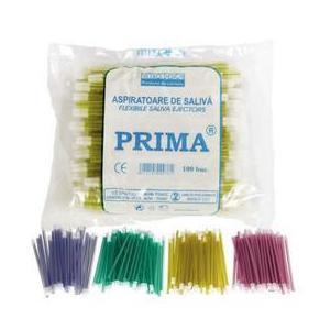 Nyálelszívó cserélhető fejjel Prima, sárga, 15cm, 100 db. kép