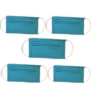 Védőmaszk 5 Darabos Szett, Újrahasznosítható, Mikroszálas Textel, Kék kép