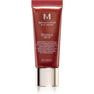Missha M Perfect Cover BB krém nagyon magas UV védelemmel kis csomagolás árnyalat No. 21 Light Beige SPF 42/PA+++ 20 ml kép