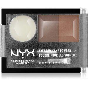 NYX Professional Makeup Eyebrow Cake Powder Szemöldökformázó készlet árnyalat 05 Brunette 2.65 g kép