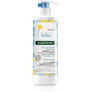 Klorane Bébé Calendula öblítést nem igénylő tisztító tej normál és száraz bőrre 750 ml kép