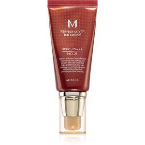 Missha M Perfect Cover BB krém magas UV védelemmel árnyalat No. 21 Light Beige SPF42/PA+++ 50 ml kép