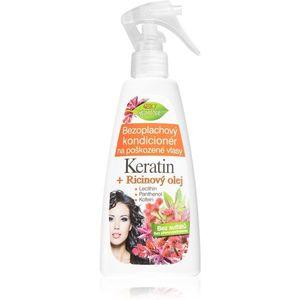 Bione Cosmetics Keratin + Ricinový olej leöblítést nem igénylő regeneráló kondicionáló hajra 260 ml kép