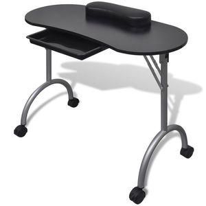vidaXL Összecsukható manikűr asztal kerekekkel fekete kép