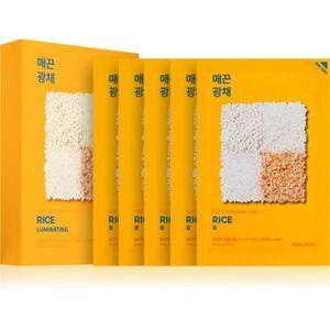 Holika Holika Pure Essence Rice szövet arcmaszk az arcbőr élénkítésére és vitalitásáért 5x20 ml kép