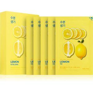 Holika Holika Pure Essence Lemon arcmaszk bőrpuhító és frissítő hatással C vitamin 5x20 ml kép