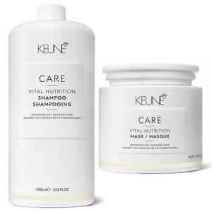 Hajápolási csomag száraz vagy törékeny hajra - Keune Care Vital Nutrition - Sampon 1000ml és Hajmaszk 500ml kép
