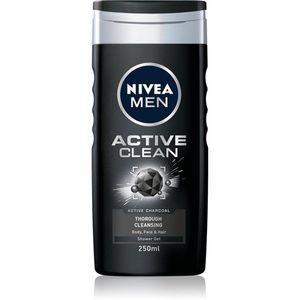 Nivea Men Active Clean tusfürdő gél arcra, testre és hajra uraknak 250 ml kép