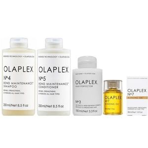 Csomag a Haj Karbantartására Olaplex - Sampon OLAPLEX No. 4, 250 ml; Balzsam OLAPLEX No. 5, 250 ml; Kezelés OLAPLEX No. 3, 100 ml; Hajolaj OLAPLEX No. 7, 30 ml kép